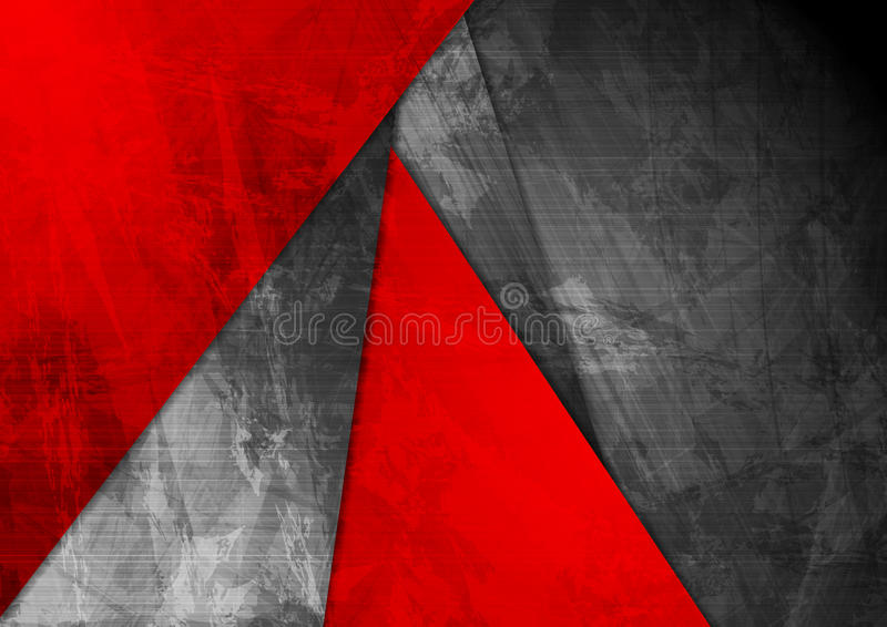 Fundo incorporado preto vermelho material do Grunge ilustração stock