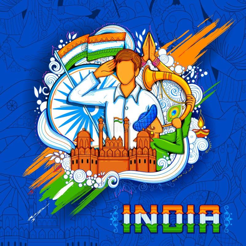 Fundo indiano com os povos que saudam com o forte vermelho do monumento famoso para o Dia da Independência de Índia ilustração royalty free