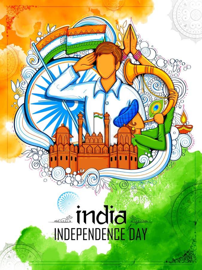 Fundo indiano com os povos que saudam com o forte vermelho do monumento famoso para o Dia da Independência de Índia ilustração do vetor