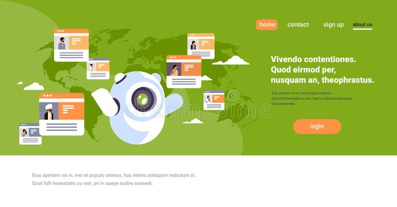 Fundo indiano do mapa do mundo do conceito da aplicação de comunicação global dos povos do mensageiro em linha do chatbot do robô ilustração do vetor