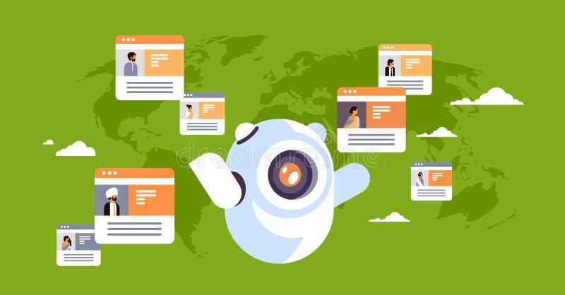 Fundo indiano do mapa do mundo do conceito da aplicação de comunicação global dos povos do mensageiro em linha do chatbot do robô ilustração royalty free