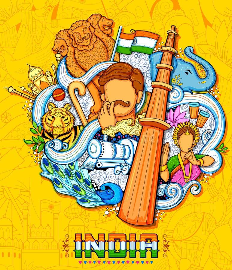 Fundo indiano que mostra suas cultura e diversidade incríveis com celebração do monumento, da dança e do festival para a 15a ilustração stock