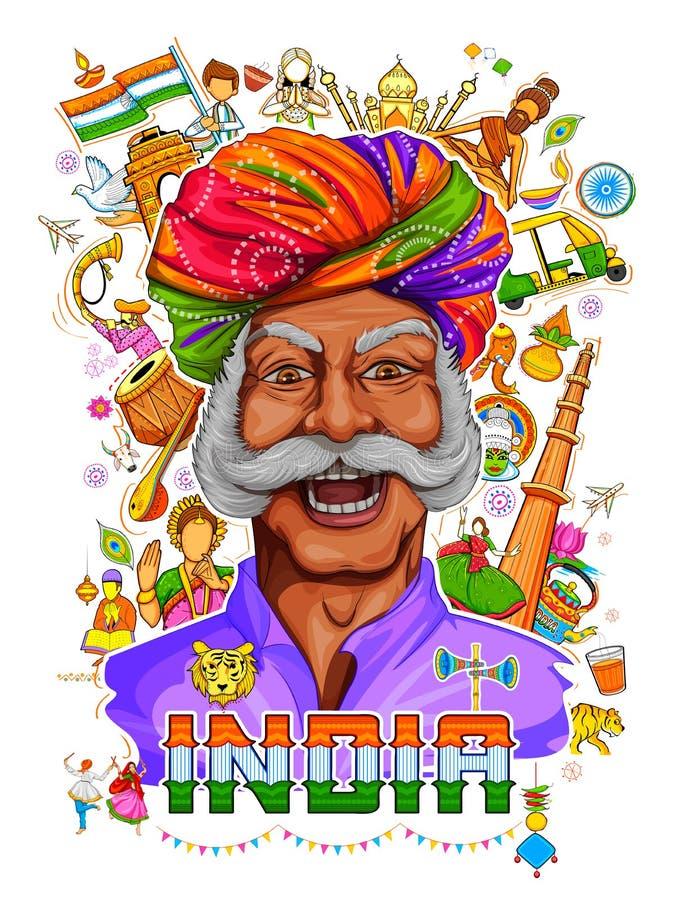 Fundo indiano que mostra suas cultura e diversidade incríveis com celebração do monumento, da dança e do festival para a 15a ilustração do vetor