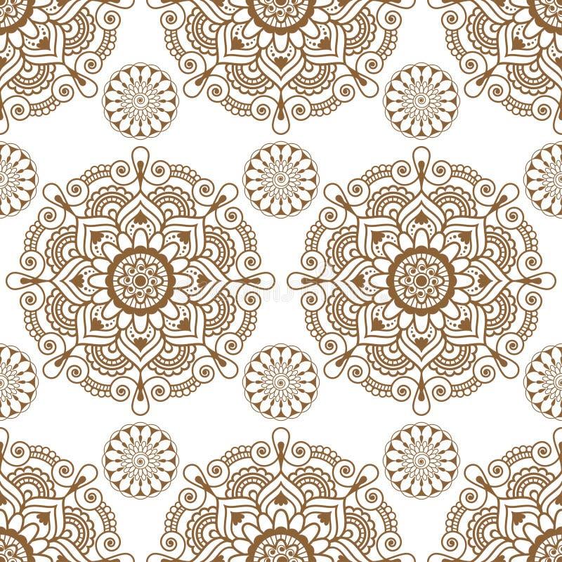 Fundo indiano sem emenda com artigos florais da decoração do buta do laço da hena do marrom do mehndi no fundo branco ilustração stock
