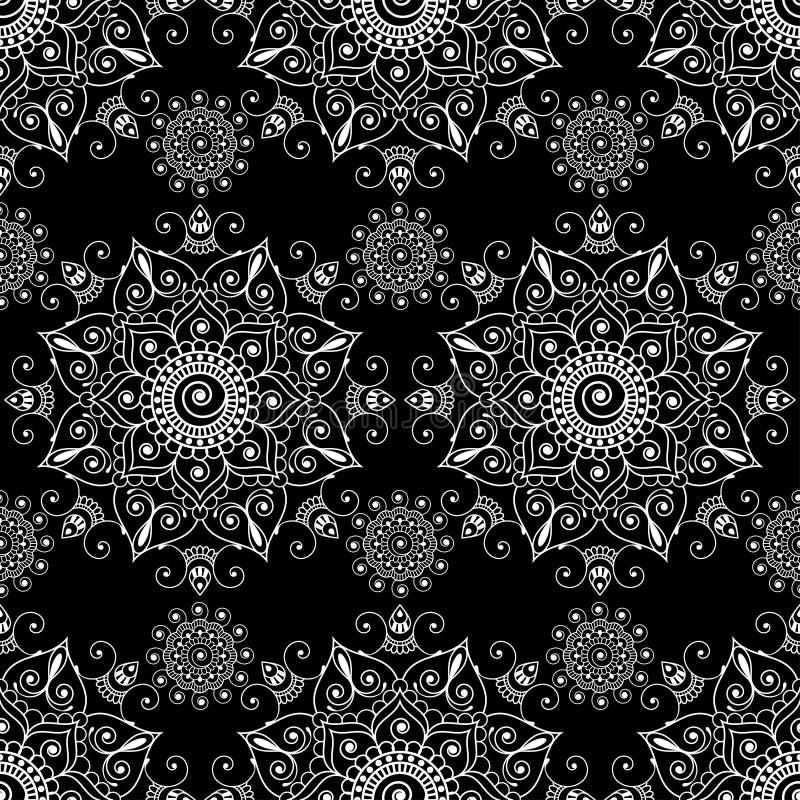Fundo indiano sem emenda com artigos florais da decoração do buta do laço da hena do mehndi no fundo preto ilustração do vetor