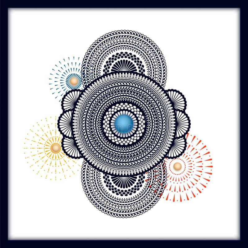 Fundo indiano tradicional da mandala com fogos de artifício projeto para o cartão, vale-oferta, empacotando, cópia ilustração stock