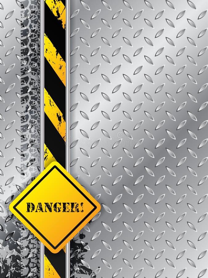 Fundo industrial abstrato com as trilhas do pneu com texto do perigo ilustração stock