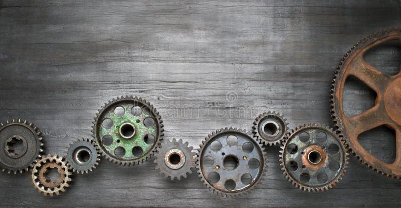 Fundo industrial da bandeira das rodas denteadas