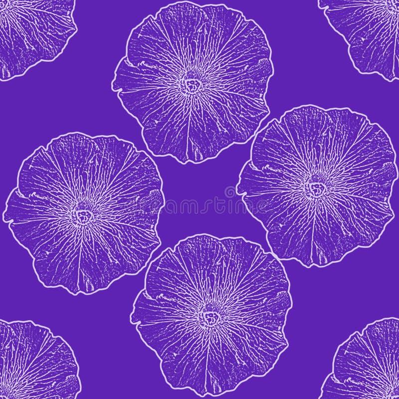 Fundo infinito com as flores dos petúnias ilustração stock