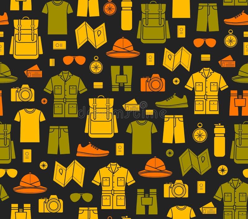 Fundo infinito dos ícones do safari ilustração stock
