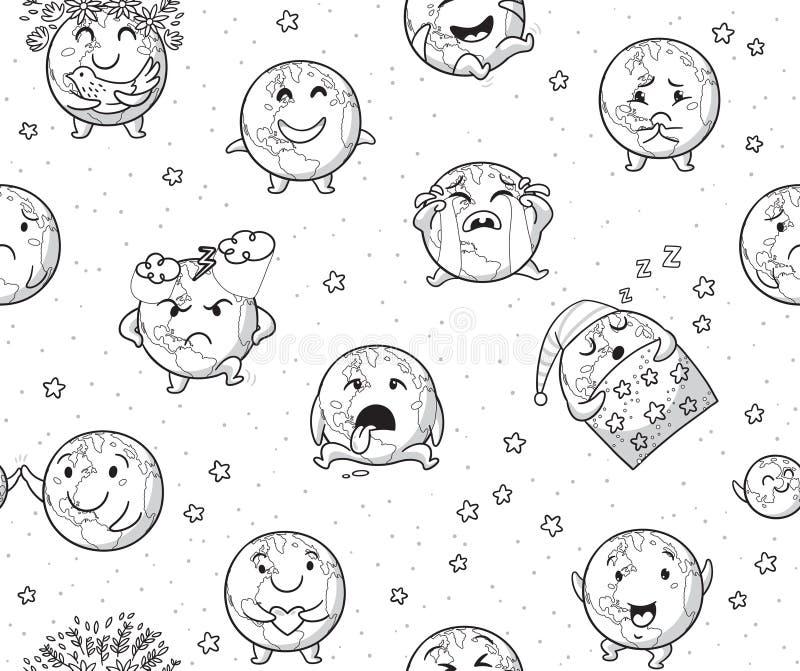 Fundo infinito dos caráteres do emoji da terra no esboço Ilustração do vetor ilustração do vetor