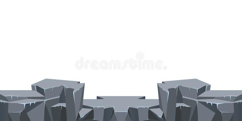 Fundo infinito sem emenda da paisagem para o jogo de arcada ou a animação Terra rochoso rochosa do deserto Ilustração do vetor ilustração stock