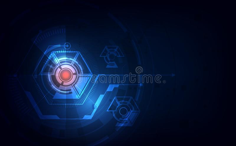 Fundo inovativo do projeto de conceito do fi do sci abstrato da tecnologia do teste padrão do hexágono Ilustra??o do vetor ilustração do vetor