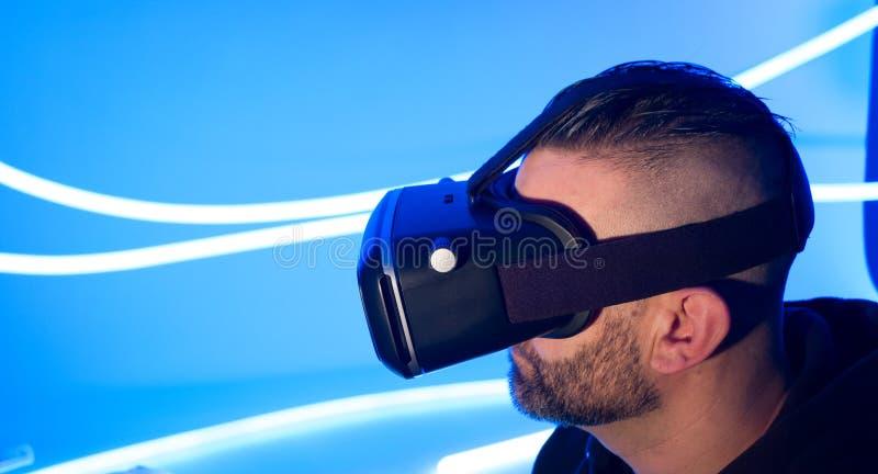 Fundo interativo do azul da realidade virtual imagens de stock