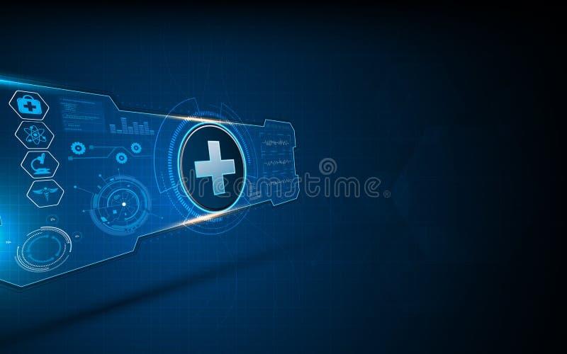 Fundo interativo do conceito de projeto da tela da máquina virtual do ui médico abstrato do hud dos cuidados médicos ilustração stock