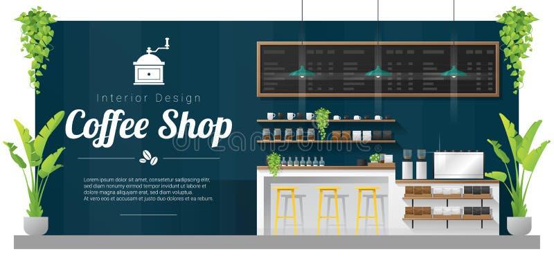 Fundo interior, cena moderna da barra do contador da cafetaria ilustração stock