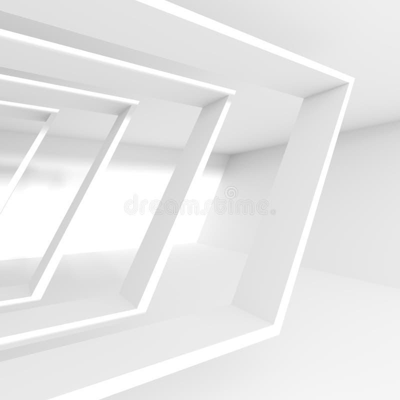 Fundo interior futurista Sala de visitas abstrata branca Conce ilustração royalty free