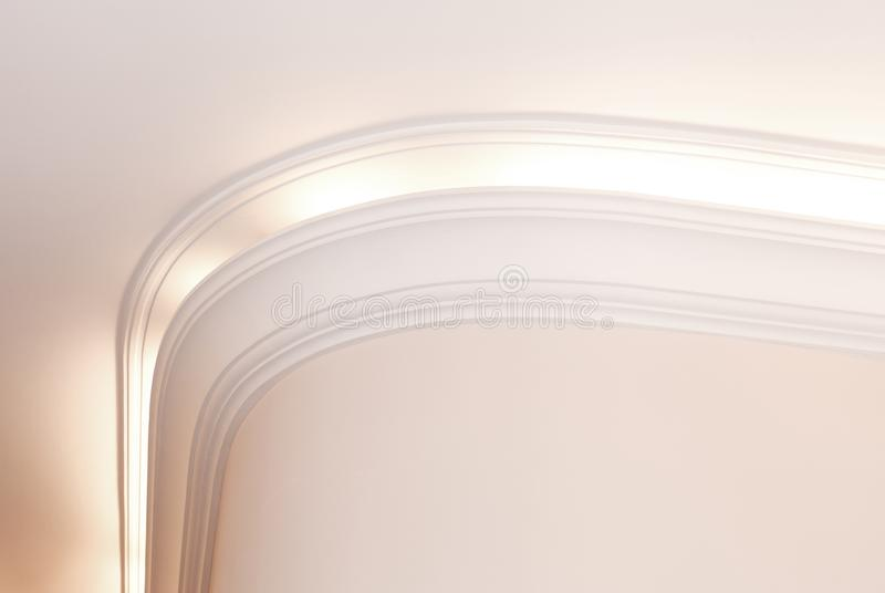Cornice iluminado, fundo interior brilhante fotografia de stock