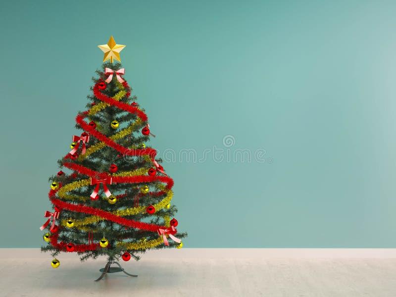 Fundo interior-X'mas da decoração da árvore de Natal foto de stock