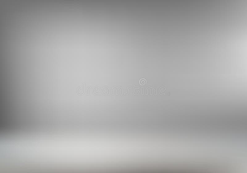 Fundo interior ou papel de parede da sala cinzenta abstrata para a exposição do produto Contexto vazio do photoshoot do estúdio p ilustração royalty free