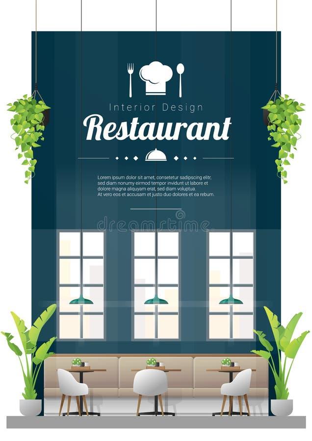 Fundo interior, restaurante moderno com tabelas e cena das cadeiras ilustração do vetor