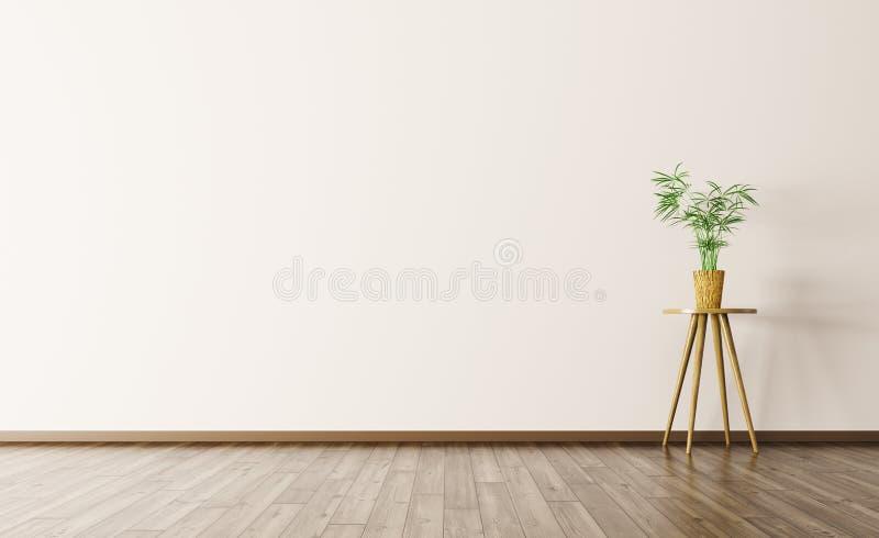 Fundo interior vazio com rendição da planta 3d ilustração stock