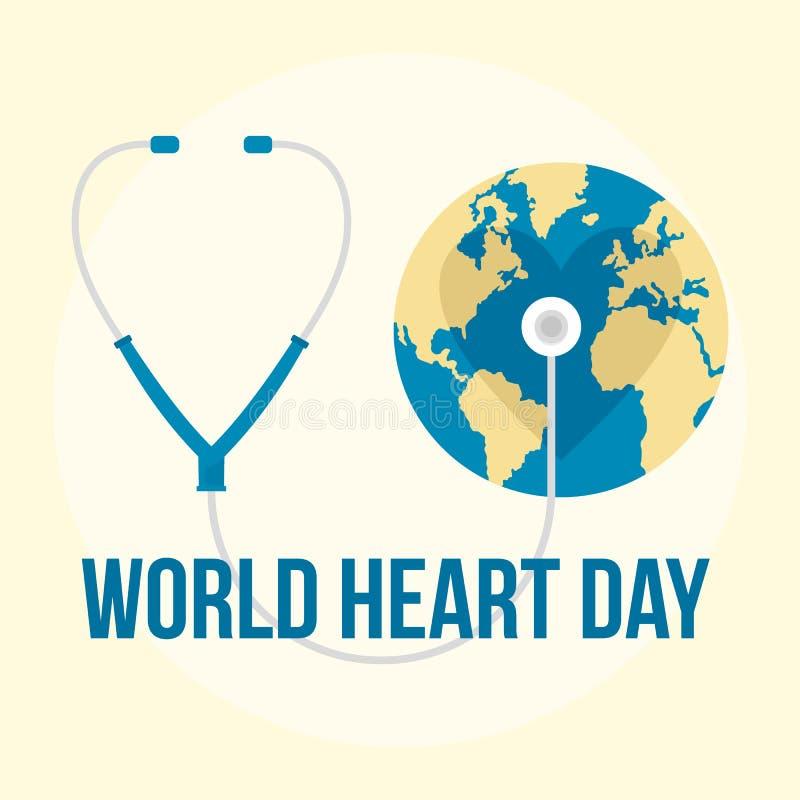 Fundo internacional do dia do coração do mundo, estilo liso ilustração royalty free