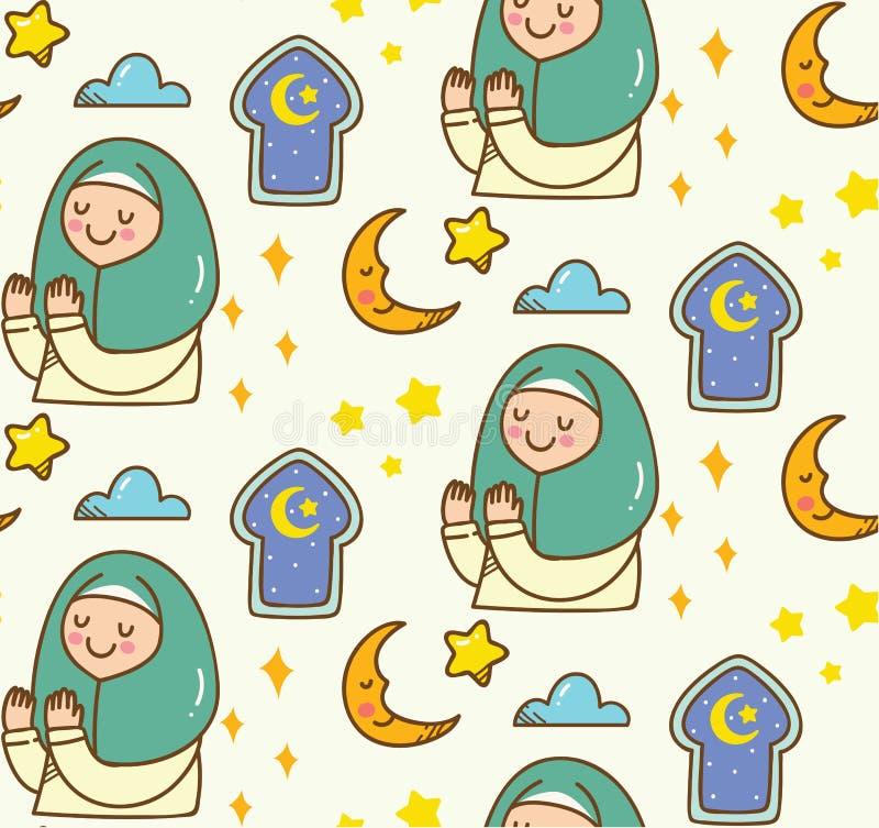 Fundo islâmico da garatuja dos desenhos animados para o fitr do al de Eid ou a celebração de ramadan ilustração stock