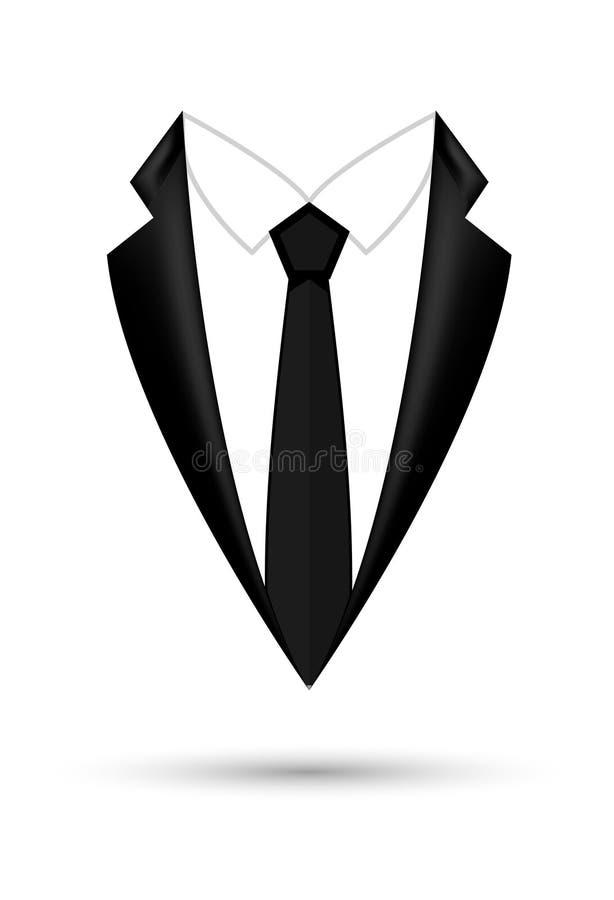 Fundo isolado ?cone do terno do homem com curva Projeto preto do revestimento do neg?cio da forma ilustração stock