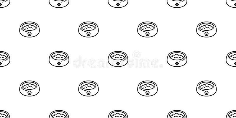 Fundo isolado da telha do papel de parede da repetição dos desenhos animados da pata do osso do alimento para cães do buldogue fr ilustração do vetor