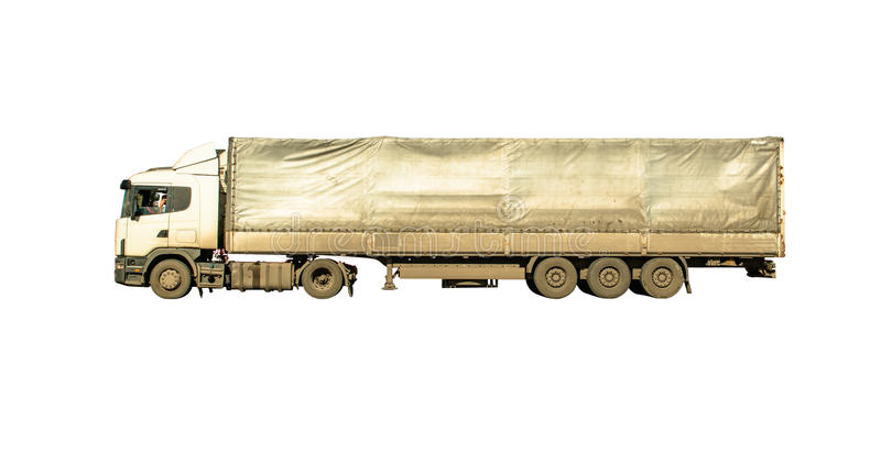 Fundo isolado de camionete caminhão branco sujo longo fotografia de stock