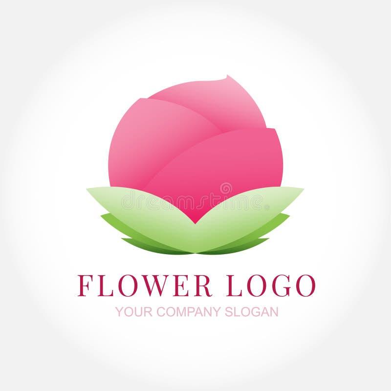 Fundo isolado do logotipo da flor de lótus projeto cor-de-rosa ilustração do vetor