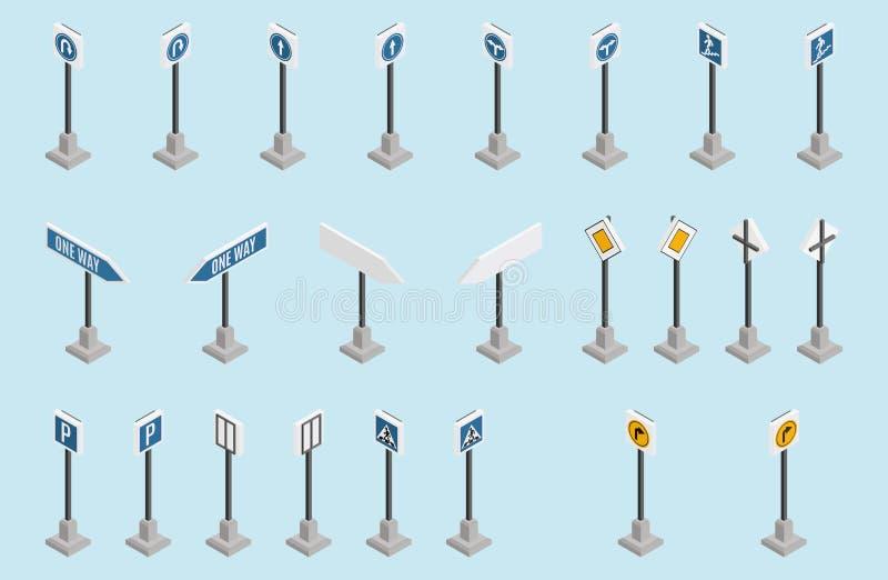 Fundo isométrico da luz da seleção dos sinais de estrada ilustração stock