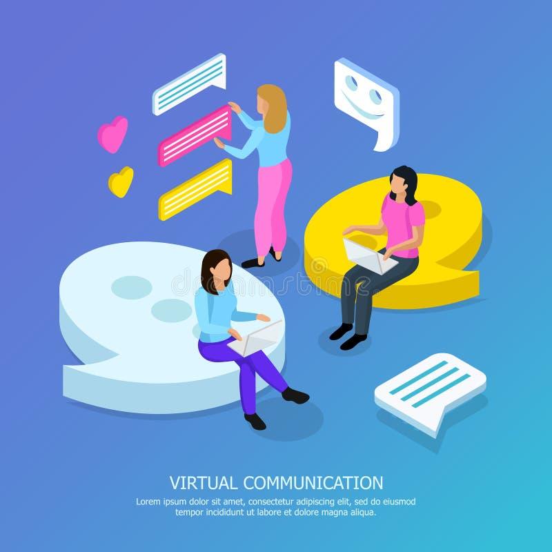 Fundo isométrico de uma comunicação virtual ilustração do vetor