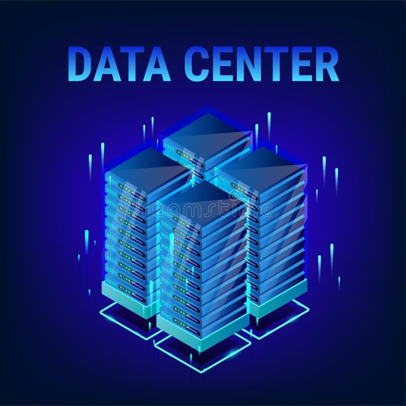 Fundo isométrico do centro de dados ilustração do vetor