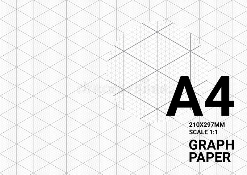 Fundo isométrico do papel de gráfico com traço da linha de guia triangular e sextavada textura da régua da grade para projetar me ilustração do vetor