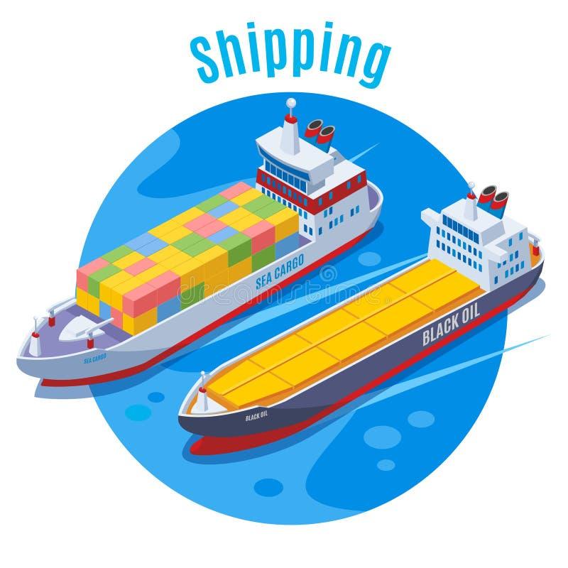 Fundo isométrico do porto redondo ilustração stock