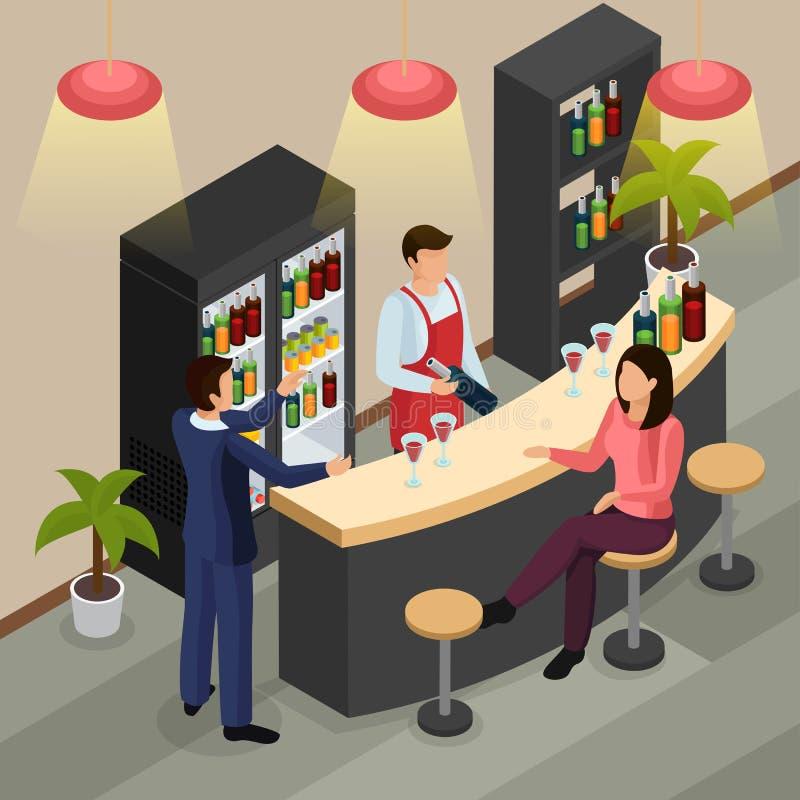 Fundo isométrico do restaurante da barra ilustração royalty free