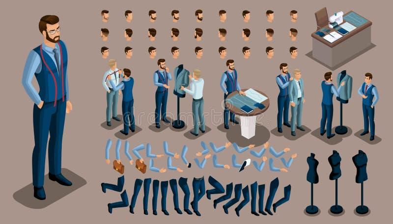 Fundo isométrico do vintage, um homem do alfaiate, um grupo de gestos das mãos e pés, penteados, emoções para criar seu caráter ilustração stock