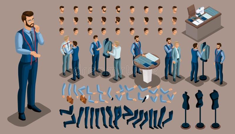 Fundo isométrico do vintage, um homem do alfaiate, um grupo de gestos das mãos e pés, penteados, emoções para criar seu caráter S ilustração do vetor