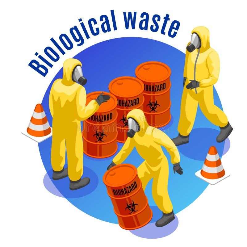 Fundo isométrico dos resíduos tóxicos ilustração do vetor