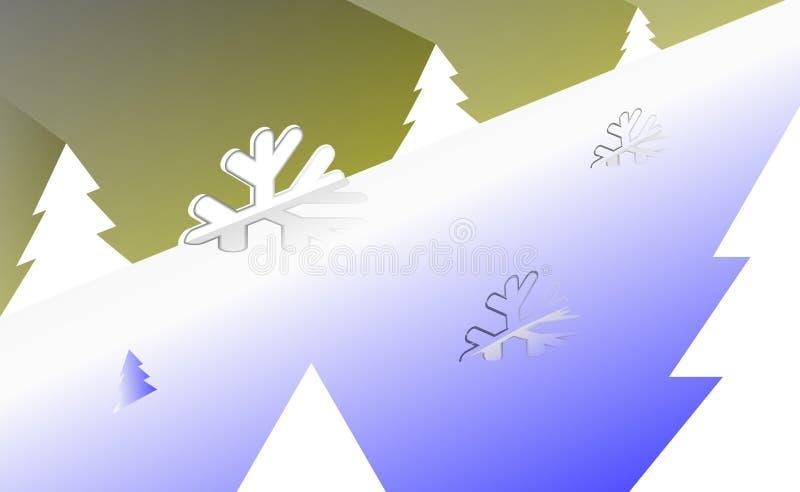 Fundo isometry alegre do vintage do Natal com árvore branca e ornamento dos flocos de neve claros Por anos novos no contexto co a ilustração stock