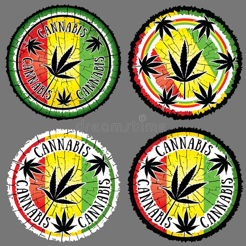 Fundo jamaicano da bandeira do projeto da silhueta da folha do cannabis imagem de stock royalty free