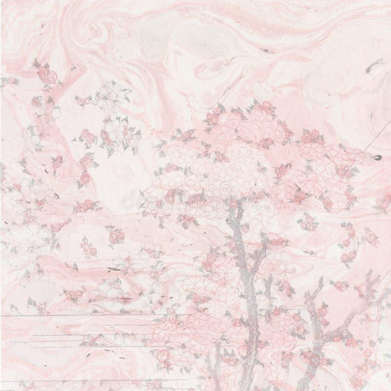 Fundo japonês da aquarela do vintage - Cherry Blossom Trees - projeto asiático - Srapbooking - papel de japão ilustração royalty free