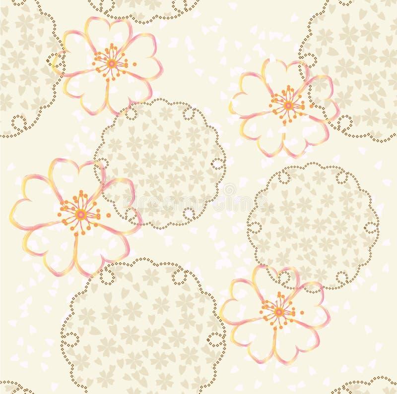 Fundo japonês do vetor com flor de cereja ilustração do vetor