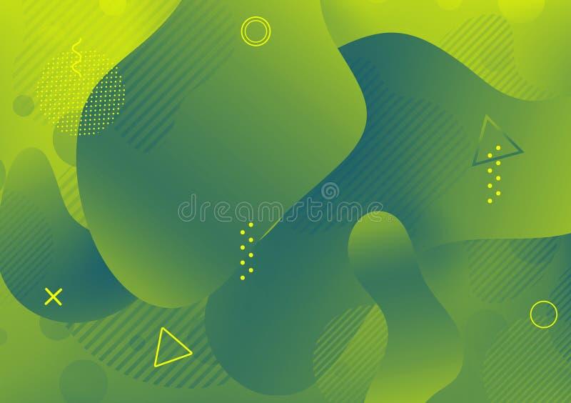 Fundo líquido abstrato da cor Elementos dinâmicos na moda futuristas Inclinação moderno para seu projeto ilustração stock