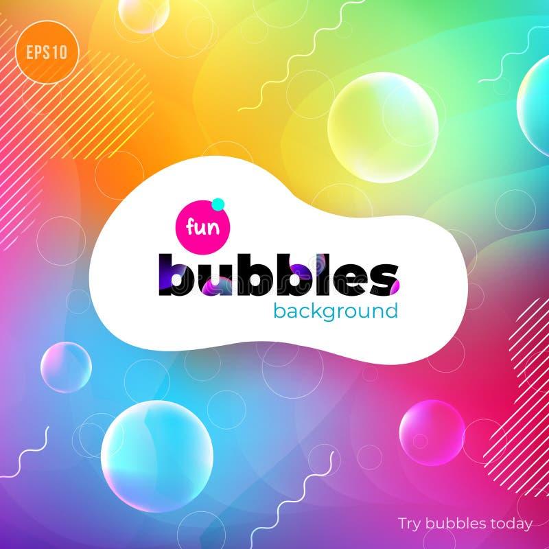 Fundo líquido da cor do divertimento com bolhas O líquido dá forma à composição Fundo do teste padrão do projeto das crianças Vet ilustração stock