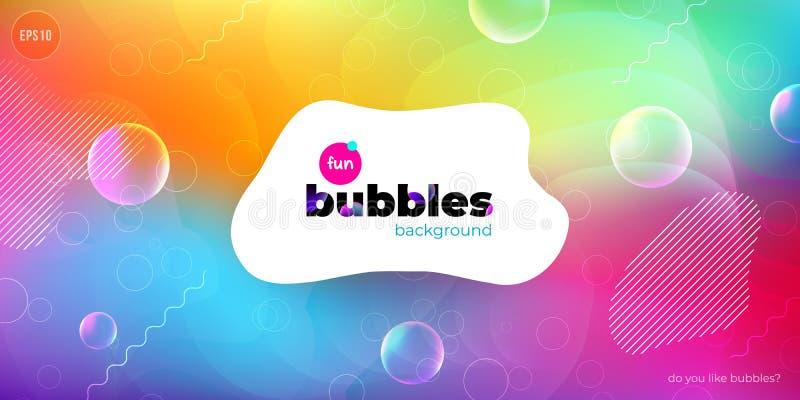 Fundo líquido da cor do divertimento com bolhas O líquido dá forma à composição Fundo do teste padrão do projeto das crianças Vet ilustração do vetor