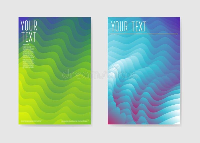 Fundo líquido da onda do cartaz abstrato O líquido dá forma ao molde do folheto ilustração royalty free