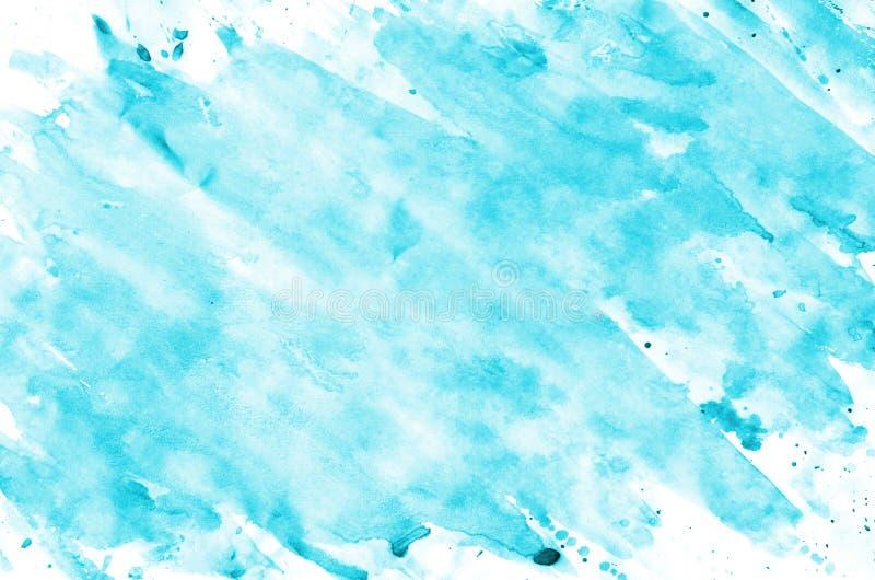 Fundo líquido da pintura molhada azul colorida da escova da aquarela para o papel de parede, cartão Papel tirado t do sumário da  imagem de stock